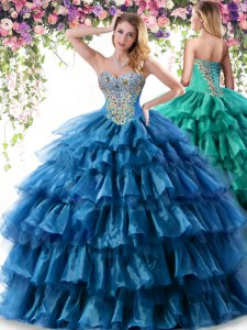Superior Sweetheart Sleeveless Sweet 16 Dress Floor Length Beading and Ruffled Layers Teal Organza