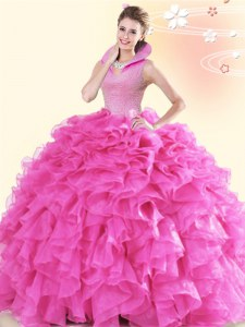 Floor Length Backless Quinceanera Gowns Hot Pink for Military Ball and Sweet 16 and Quinceanera with Beading and Ruffles