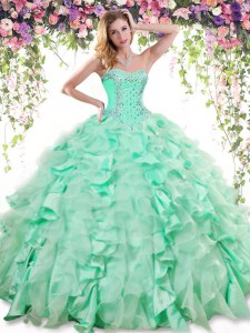 Apple Green Organza and Taffeta Lace Up Ball Gown Prom Dress Sleeveless Floor Length Beading and Ruffles