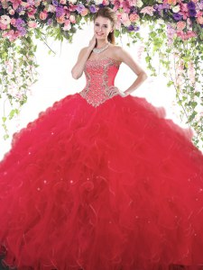 Fitting Red Ball Gowns Beading Vestidos de Quinceanera Lace Up Tulle Sleeveless Floor Length