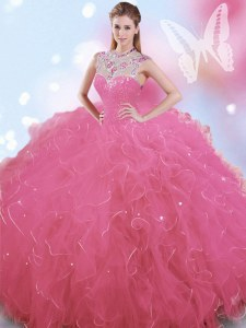 High-neck Sleeveless Zipper Ball Gown Prom Dress Rose Pink Tulle