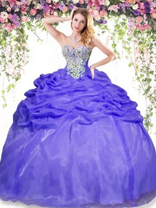 Excellent Lavender Sleeveless Floor Length Beading and Pick Ups Lace Up Quinceanera Gowns