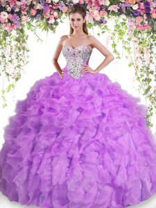 Chic Lilac Sleeveless Floor Length Beading and Ruffles Lace Up Sweet 16 Dresses