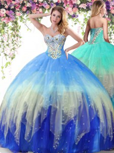 Beautiful Multi-color Sleeveless Beading Floor Length 15 Quinceanera Dress