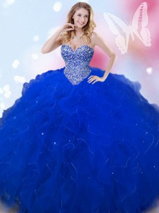 Classical Floor Length Royal Blue Quinceanera Gown Tulle Sleeveless Beading