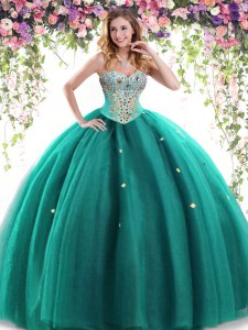 Glittering Dark Green Sleeveless Tulle Lace Up Sweet 16 Quinceanera Dress for Military Ball and Sweet 16 and Quinceanera