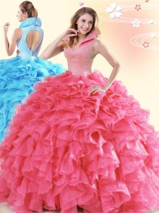 Glorious High-neck Sleeveless Backless Quinceanera Dress Coral Red Organza