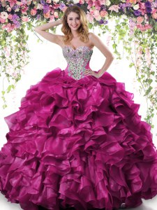 Floor Length Lace Up Quinceanera Dresses Fuchsia for Military Ball and Sweet 16 and Quinceanera with Beading and Ruffles
