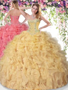 Sleeveless Floor Length Beading and Ruffles Lace Up 15 Quinceanera Dress with Gold