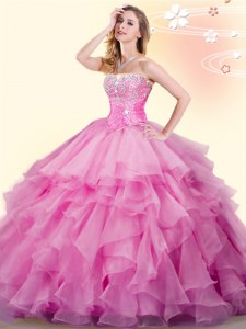 Fitting Rose Pink Sweetheart Lace Up Beading and Ruffles Quinceanera Dress Sleeveless
