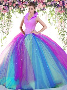 Multi-color Ball Gowns High-neck Sleeveless Tulle Floor Length Backless Beading Ball Gown Prom Dress