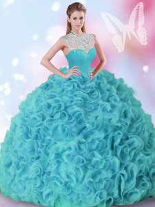 Fantastic Sleeveless Beading and Ruffles Zipper Quince Ball Gowns