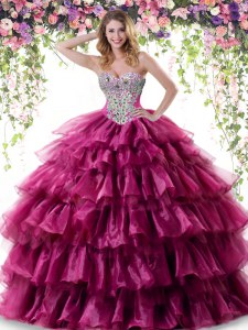 Fuchsia Lace Up Sweetheart Beading and Ruffled Layers Quinceanera Dresses Organza Sleeveless