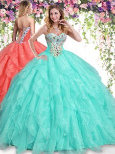Beading and Ruffles Quince Ball Gowns Apple Green Lace Up Sleeveless Floor Length