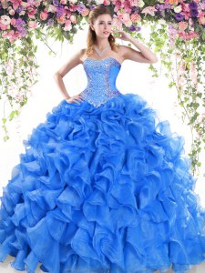 Free and Easy Sleeveless Beading and Ruffles Lace Up Quinceanera Gown with Blue Sweep Train