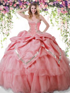 On Sale Watermelon Red Organza and Taffeta Lace Up Quince Ball Gowns Sleeveless Floor Length Beading and Pick Ups