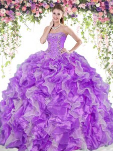 Lovely White And Purple Sleeveless Beading and Ruffles Floor Length Sweet 16 Dresses