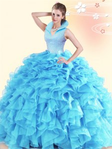 Romantic Aqua Blue Ball Gowns High-neck Sleeveless Organza Floor Length Backless Beading and Ruffles Vestidos de Quinceanera