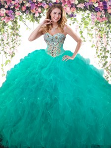 Floor Length Lace Up Vestidos de Quinceanera Turquoise for Military Ball and Sweet 16 and Quinceanera with Beading
