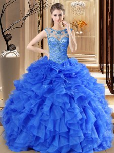 Scoop Sleeveless Floor Length Beading and Ruffles Lace Up Ball Gown Prom Dress with Royal Blue