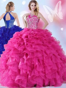Fabulous Hot Pink Organza Lace Up Halter Top Sleeveless Floor Length Quinceanera Gown Beading and Ruffles