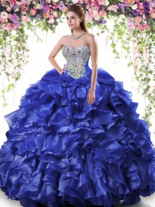 Royal Blue Sleeveless Organza Lace Up Quinceanera Gowns for Military Ball and Sweet 16 and Quinceanera