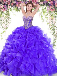 Pretty Purple Organza Lace Up Quinceanera Gown Sleeveless Sweep Train Beading and Ruffles