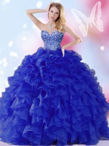 Fashionable Floor Length Ball Gowns Sleeveless Royal Blue Quinceanera Gowns Lace Up