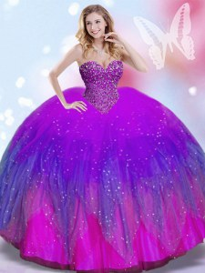 Simple Multi-color Ball Gowns Tulle Sweetheart Sleeveless Beading Floor Length Lace Up Sweet 16 Dress