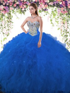 Great Floor Length Royal Blue Quinceanera Gowns Tulle Sleeveless Beading