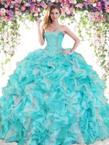 Amazing Blue And White Ball Gowns Beading and Ruffles Sweet 16 Dresses Lace Up Organza Sleeveless Floor Length