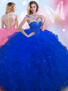 Low Price Royal Blue Ball Gowns Beading Quinceanera Gowns Zipper Tulle Sleeveless Floor Length