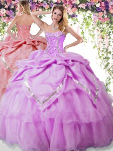 Pick Ups Lilac Sleeveless Organza and Taffeta Lace Up Sweet 16 Dresses for Military Ball and Sweet 16 and Quinceanera