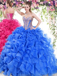 Stylish Blue Organza Lace Up Sweetheart Sleeveless Sweet 16 Dresses Sweep Train Beading and Ruffles