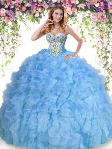 Baby Blue Organza Lace Up Quinceanera Dress Sleeveless Floor Length Beading and Ruffles