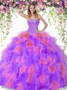 Multi-color Ball Gowns Sweetheart Sleeveless Organza Floor Length Lace Up Beading Ball Gown Prom Dress