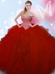Sweetheart Sleeveless Quinceanera Dress Floor Length Beading Wine Red Tulle