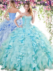 Elegant Baby Blue Sleeveless Organza and Taffeta Lace Up Sweet 16 Dresses for Military Ball and Sweet 16 and Quinceanera