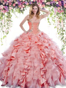 Deluxe Watermelon Red Quinceanera Gown Military Ball and Sweet 16 and Quinceanera and For with Beading and Ruffles Sweetheart Sleeveless Lace Up