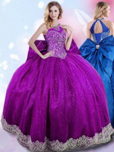 Romantic Eggplant Purple Halter Top Lace Up Beading and Bowknot Sweet 16 Quinceanera Dress Sleeveless