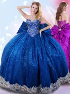 Decent Royal Blue Ball Gowns Taffeta Sweetheart Sleeveless Beading and Lace and Bowknot Floor Length Lace Up Quinceanera Dress