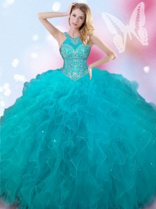 Captivating Halter Top Teal Sleeveless Tulle Lace Up Quinceanera Dress for Military Ball and Sweet 16 and Quinceanera