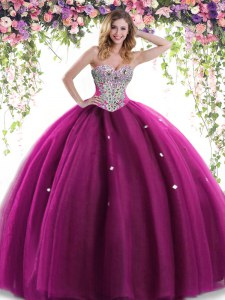High Class Floor Length Fuchsia Vestidos de Quinceanera Sweetheart Sleeveless Lace Up