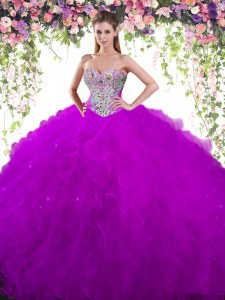 Dramatic Beading Sweet 16 Dress Eggplant Purple Lace Up Sleeveless Floor Length