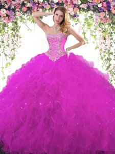 Trendy Sweetheart Sleeveless Quinceanera Dress Floor Length Beading Fuchsia Tulle