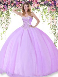 Classical Tulle Sweetheart Sleeveless Lace Up Beading Sweet 16 Dress in Lilac