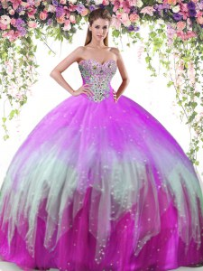 On Sale Multi-color Ball Gowns Sweetheart Sleeveless Tulle Floor Length Lace Up Beading Quinceanera Dress