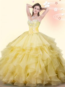 Yellow Lace Up 15th Birthday Dress Beading and Ruffles Sleeveless Floor Length