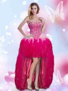 Hot Pink Sleeveless High Low Beading Zipper Prom Gown