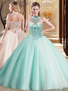 Beauteous Halter Top Aqua Blue Sleeveless Brush Train Beading With Train Vestidos de Quinceanera